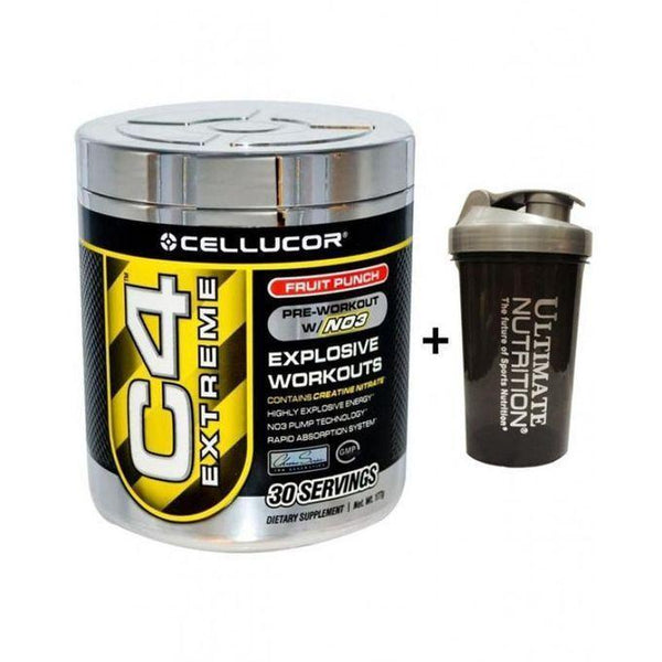 C4 Extreme - 30 Servings - Fruit Punch Flavour With Premium Shaker Tajori