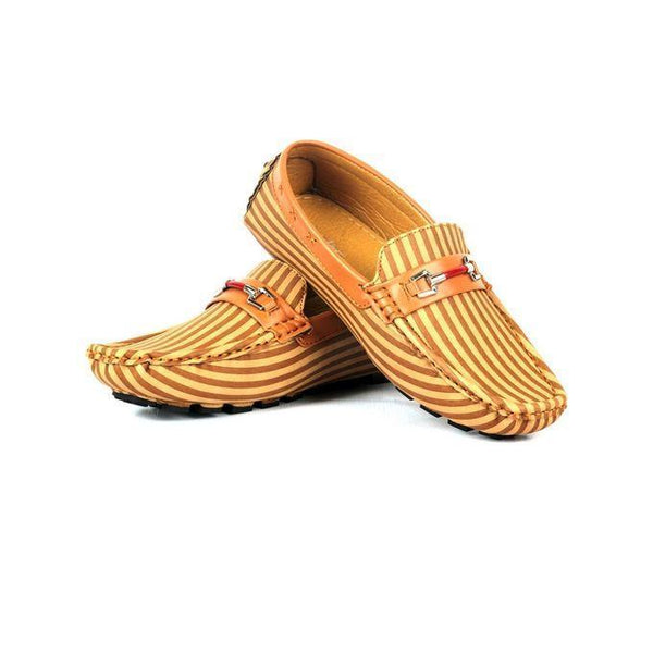 Camel Leather Loafers for Men Tajori