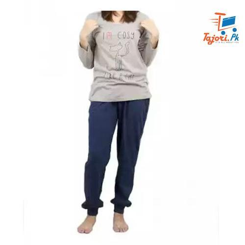 Cat Print Full Sleevess Nightwear PJ Set Tajori