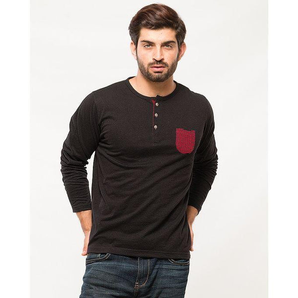 Charcoal Black And Navy Blue Cotton Pack Of 3 Round Neck Button Long Sleeve T-Shirt With Stitching Pocket Tajori