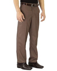 Coffee Brown Cotton Formal Dress Pants For Men Tajori
