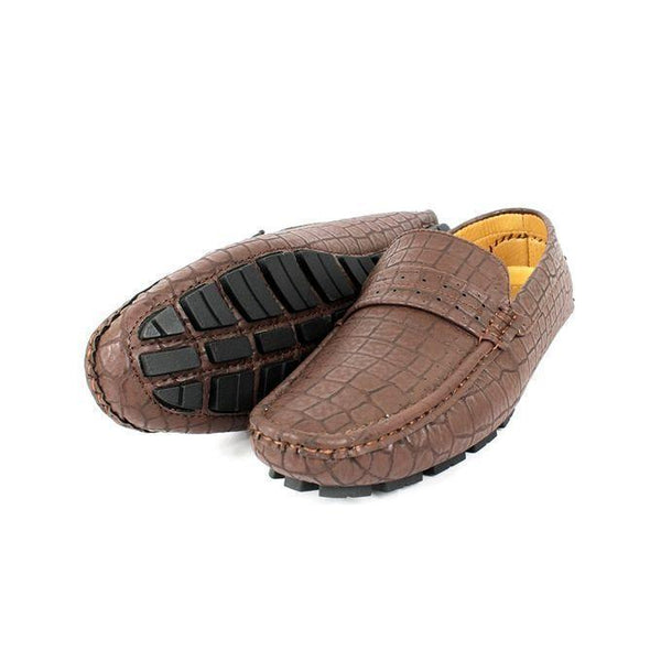 Coffee Brown Faux Leather Loafers For Men Tajori