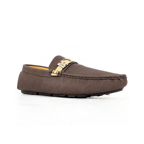 Coffee Faux Leather Loafers For Men Tajori