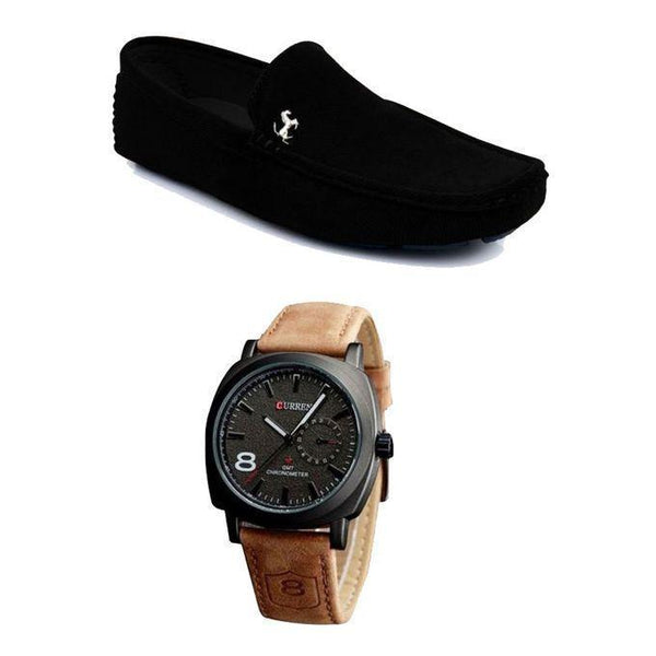 Combo Pack Of 2 Black Loafar + Brown Curren Watch For Men Tajori