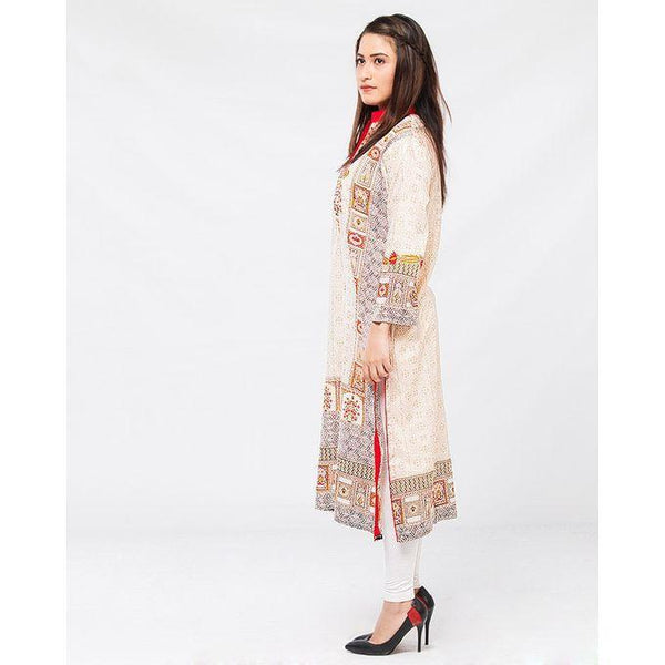 Cream Lawn Embroidered Kurta for Women Tajori