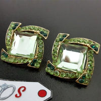 Cutes Earstuds in Green Tone,Square Shape Tajori