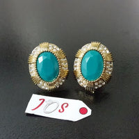 Dazzling Earstuds with Ferozee Stone in Golden Tone Tajori