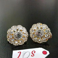 Dazzling Earstuds with Zircon Stones in Golden Tone Tajori