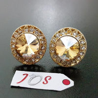 Delicate Earstuds with Diamond Cut Stone in Golden Tone Tajori
