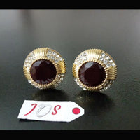 Elegant Earstuds with Maroon Stone in Golden Tone Tajori