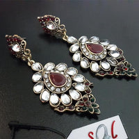 Elegant Kundan Plus Zircon Earring with Center Maroon Stone Tajori