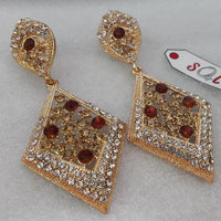 Elegant Zircon Earring with Brown Stones in Rose Polish Tajori