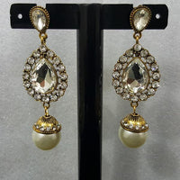 Exquisite Earrings with Creamy Pearl Stones in Antique Metal Tajori