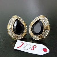 Exquisite Zircon Earstuds with Black Diamond Cut Stone in Golden Tone Tajori