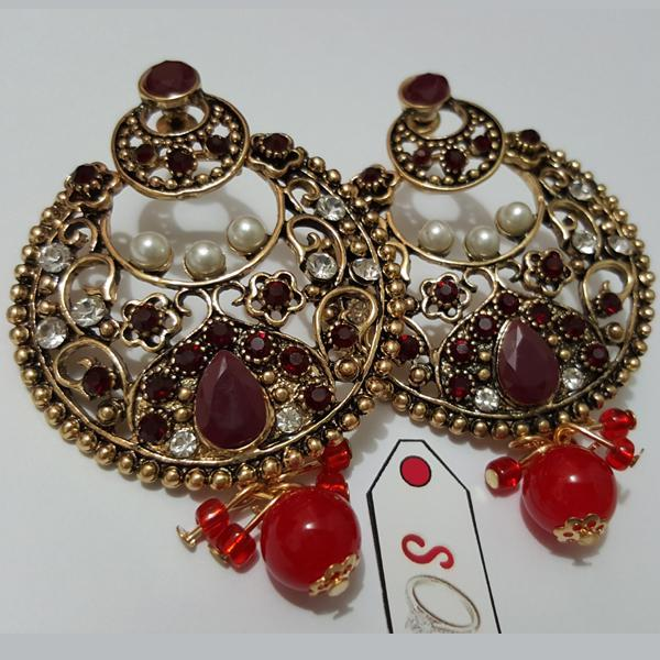 Fasinating Earring in Antique with Pearl Look Drop Red Bead Tajori