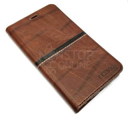 finest selection 94480 99487 Galaxy S7 Edge Rich Boss Leather Premium Look Flip Case Cover - Brown