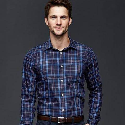 GAP Wrinkle-Resistant Henry Plaid Shirt (Slim Fit) Tajori