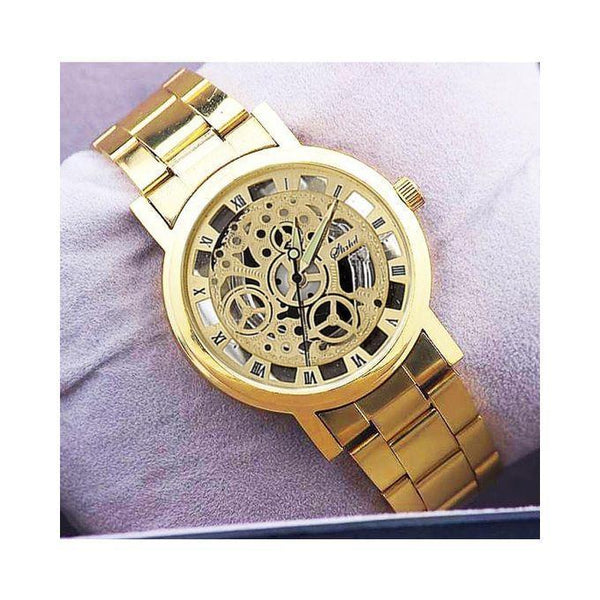 Golden Skeleton Analog Watch For Men Tajori