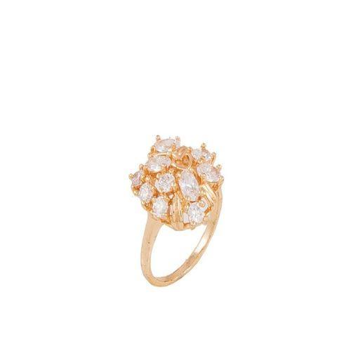 Golden Zircon & Alloy Studded Ring for Women - M-16 Tajori