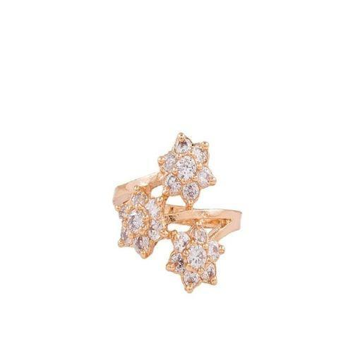 Golden Zircon & Alloy Studded Ring for Women - M-25 Tajori