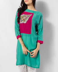 Green & Pink Malai Lawn Short Kurta With Motif Embroidery At Front Tajori