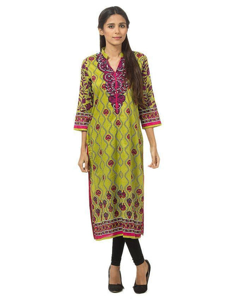 Green & Pink Printed Lawn Kurta For Women Tajori