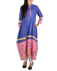 Indigo Cotton Casual Kurta with Embroidery and Contrast Fabric on Placket and Bottom Tajori