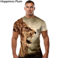 King of forest digital graphic half sleeves round neck t-shirt for men Tajori