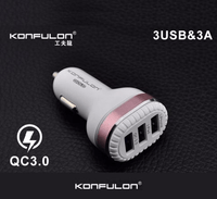 Konfulon C28 Three USB 4.8A Car Fast Charger For Iphone & Android Tajori