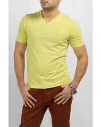 Lime Cotton V-neck T-shirt Tajori