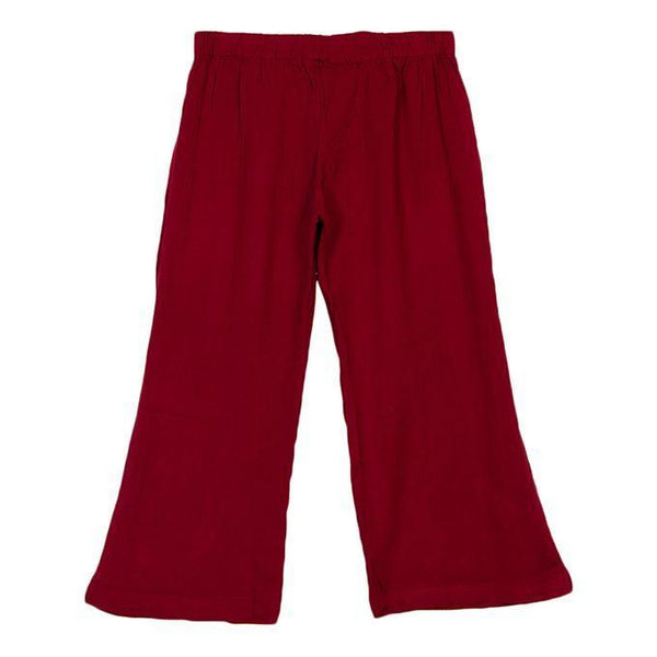 Maroon Cotton Palazzo Pants for Girls Tajori