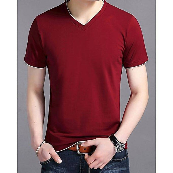 Maroon cotton V-neck short sleeves t-shirt for men Tajori