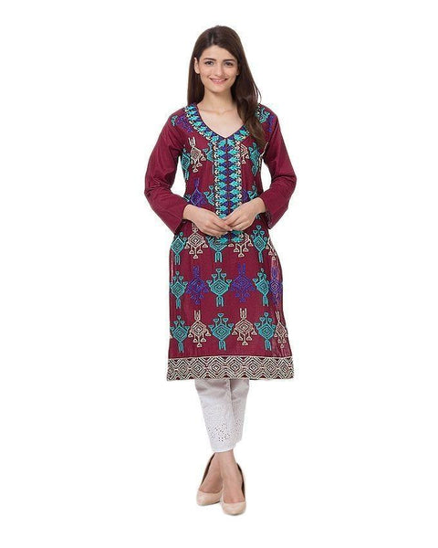 Maroon Mercerized Lawn Embroidered Kurta for Women Tajori