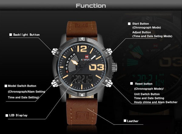 Naviforce Analog Led Leather Strap Watch For Men Tajori