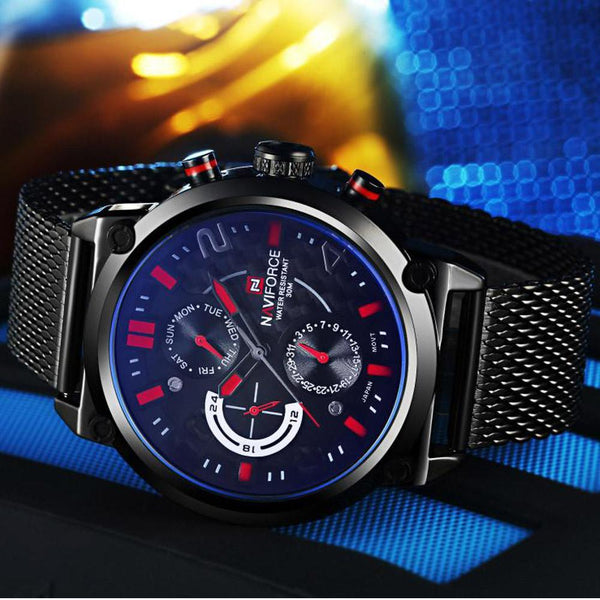 Naviforce Luxury Stainless Steel Wrist Watch Tajori