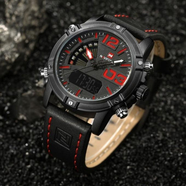Naviforce Original Analog LED Leather Military Waterproof Watch Tajori