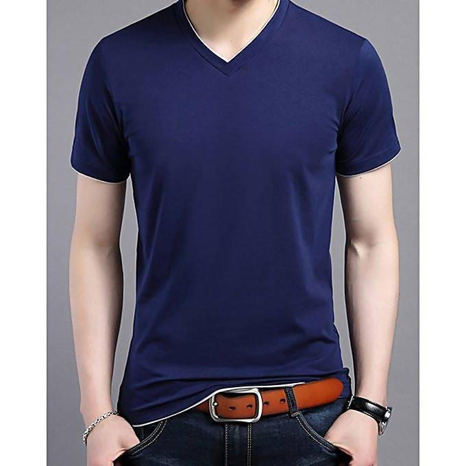 e61057ea028 Buy Navy blue cotton V-neck short sleeves t-shirt for men – Tajori.pk