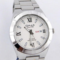 OMAX MENS WATCH WITH DAY AND DATE IN SILVER CHAIN Tajori