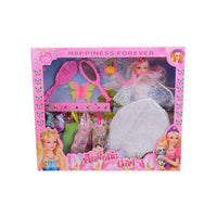Pack of 10 - Barbie Doll Set With 5 Dresses - White Tajori