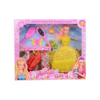 Pack of 10 - Barbie Doll Set With 5 Dresses - Yellow Tajori