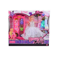 Pack of 12 - Barbie Doll Set With 6 Dresses - White Tajori