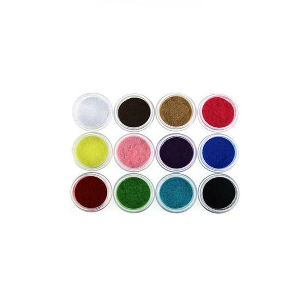 Pack Of 12 - Nail Art Velvet Flocking Powder Set - Multicolor Tajori