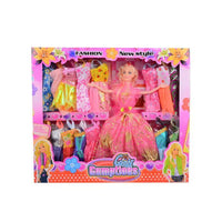 Pack of 17 - Barbie Doll Set With 16 Chaneable Dresses - Pink Tajori