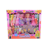 Pack of 17 - Barbie Doll Set With 16 Chaneable Dresses - Purple Tajori