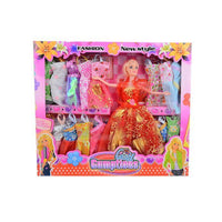 Pack of 17 - Barbie Doll Set With 16 Chaneable Dresses - Red Tajori