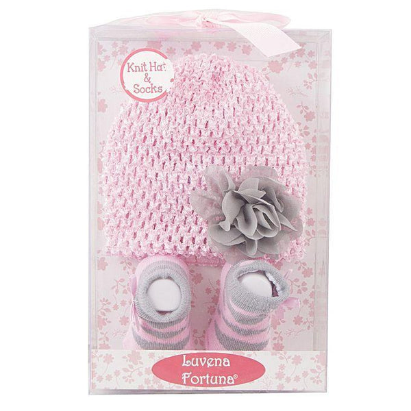 Pack of 2 - Knit Hat and Socks for Newborn - Gift - Pink Tajori
