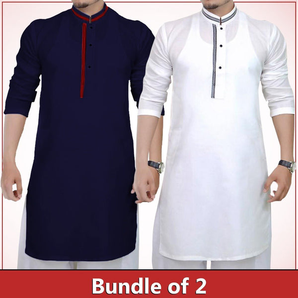 Pack of 2 Navy blue & White strip design kurta for men Tajori