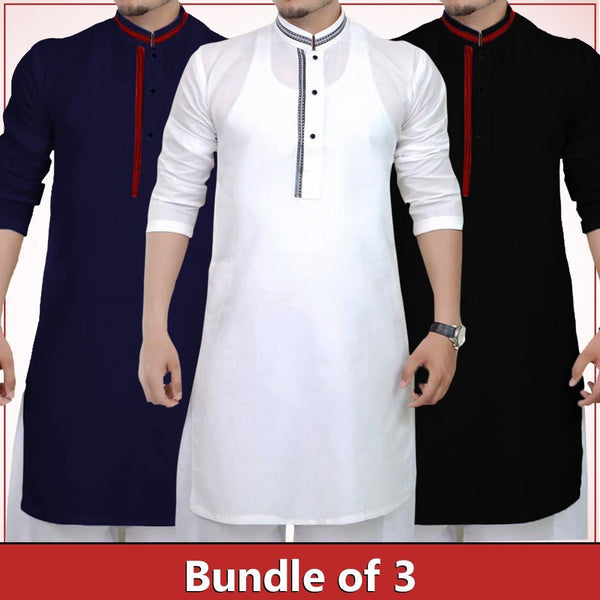 Pack of 3 Black , White & Navy blue strip design kurta for men Tajori