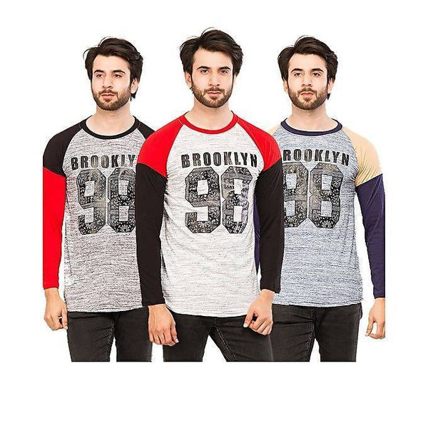 Pack of 3 brooklyn 98 print full sleeves t-shirts for men Tajori