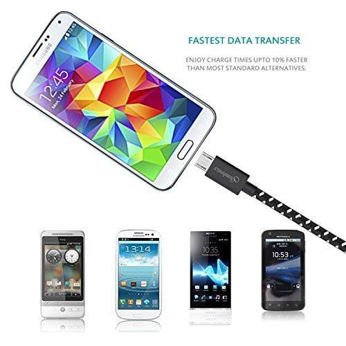 Pack of 3 Colorful Micro USB to Charging Cord Data Sync Cables by Turbold Tajori
